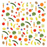 Fruits and vegetables pattern Stock Image