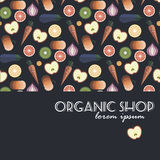 Fruits and Vegetables pattern design.  Royalty Free Stock Image
