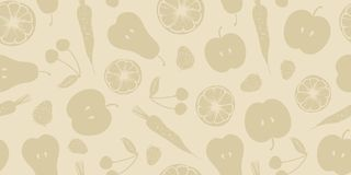 Fruits and Vegetables Pattern. Fruits and Vegetables Seamless Vector Pattern. Beige color Royalty Free Stock Photos