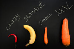 Fruits and vegetables, phallus. Penis size chart Royalty Free Stock Photos