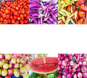 Fruits and vegetables photo collage stock images