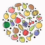 Fruits and vegetables poster of flat outline veggie and berry icons. Vector tomato or garnet and apple, cucumber or squash and melon, exotic avocado or vector illustration