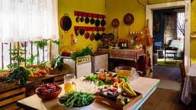 Fruits and vegetables prepared for a banquet. Typical house in the northern region of Chile Royalty Free Stock Photo