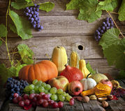 Fruits and vegetables with pumpkins Royalty Free Stock Photography