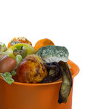 Fruits and vegetables ready for compost. Isolated. Royalty Free Stock Image