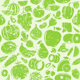 Fruits and Vegetables Retro Styled Grungy Seamless Pattern Royalty Free Stock Photography