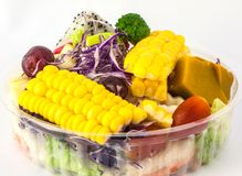 Fruits and Vegetables Salad. Sweet Corn,pumpkin,tomato,grape,dragon fruit and other Stock Photo