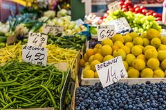 Fruits and vegetables for sale at local market in Poland. Royalty Free Stock Photos