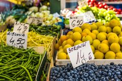 Fruits and vegetables for sale at local market in Poland. Royalty Free Stock Photography