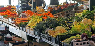 Fruits and vegetables for sale in the stand of the grocery store Royalty Free Stock Photo