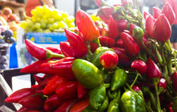 Fruits and vegetables for sale at street market appears fresh an Royalty Free Stock Images