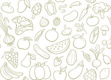 Fruits and vegetables seamless pattern. Royalty Free Stock Image