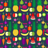 Fruits and vegetables seamless pattern. Healthy lifestyle or diet vector design element. Stock Photography