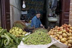 Fruits and vegetables seller in Medina of Fez, Morocco Royalty Free Stock Image