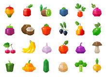 Fruits and vegetables set icons Royalty Free Stock Photo