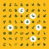 Fruits and vegetables set of icons. Eating a large collection of icons. vector illustration Stock Image