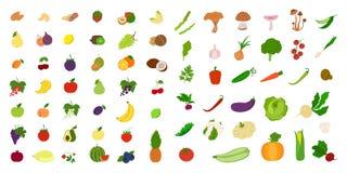 Fruits and vegetables. Fruits and vegetables set on white background stock illustration