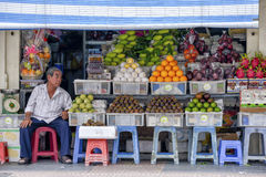 Fruits and vegetables shop royalty free stock image