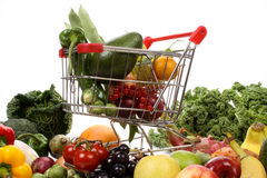 Fruits and vegetables in a shopping cart Stock Photography