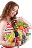 Fruits and vegetables shopping. Female model happy Royalty Free Stock Photography