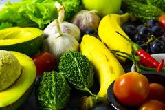 Many kinds of fruits and vegetables stock images