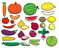 Fruits and vegetables in simplified style. Royalty Free Stock Photo