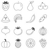 Fruits and vegetables sketch vector in black doodle on white background Royalty Free Stock Photography