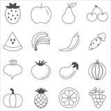 Fruits and vegetables sketch vector in black doodle on white background. Vegetarian and fruit icons set. set of 16 vegetarian outline iconsn stock illustration