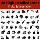 Fruits and Vegetables Smooth Icons Stock Images