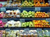 Fruits and vegetables sold in a grocery store Royalty Free Stock Image