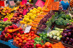 Fruits and Vegetables in Spanish Market. Fruits and vegetables in a market in Palma de Mallorca stock photos
