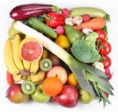 Fruits and vegetables in a square stock images