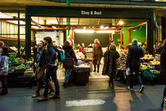 Fruits and vegetables stall at Borough Market royalty free stock photo