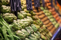 Fruits and vegetables stall in La Boqueria Stock Photography