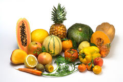Fruits and vegetables. Still-life about fruits and vegetables orange colored Royalty Free Stock Photo