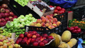 Fruits and Vegetables on a Street Market. Farm fruit market. Showcase fruits and vegetables. Georgia, Tbilisi. Full HD 1920 x 1080, 2997 fps stock video footage