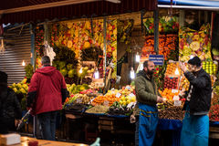 Fruits and vegetables street shop in Istanbul Stock Photos