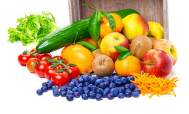 Fruits, vegetables, tipped out Royalty Free Stock Photos