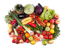 Fruits and vegetables top view stock photo