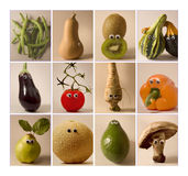 Fruits & vegetables with toy eyes Royalty Free Stock Photos