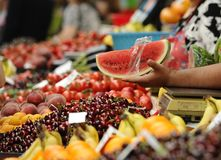 Fruits and vegetables. Various multicolored fruits and vegetables on the market stall Stock Image