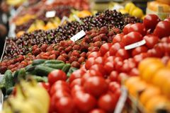 Fruits and vegetables. Various multicolored fruits and vegetables on the market stall Stock Images