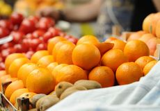 Fruits and vegetables. Various multicolored fruits and vegetables on the market stall Royalty Free Stock Image