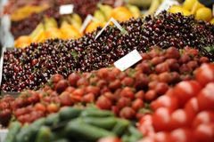 Fruits and vegetables. Various multicolored fruits and vegetables on the market stall Stock Photography