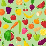 Fruits vegetables vector healthy nutrition of fruity apple banana and vegetably carrot for vegetarians eating organic. Food from grocery illustration vegetated stock illustration