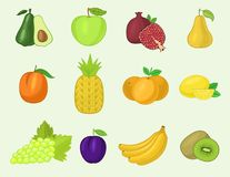 Fruits vegetables vector healthy nutrition fruity apple banana and vegetably carrot for vegetarians eating organic food. Fruits vegetables vector healthy stock illustration
