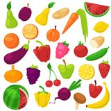 Fruits vegetables vector healthy nutrition of fruity apple banana and vegetably carrot for vegetarians eating organic. Food from grocery illustration vegetated Stock Photo