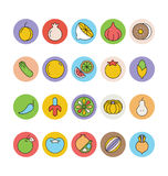 Fruits and Vegetables Vector Icons 5 Royalty Free Stock Images