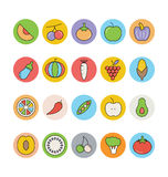 Fruits and Vegetables Vector Icons 2 Stock Photo