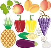 Fruits and vegetables vector set Stock Photos